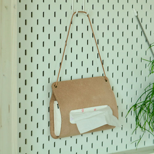 壁掛けできる革のティッシュカバー