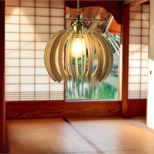 革と真鍮のペンダント照明 balloon型(床革)