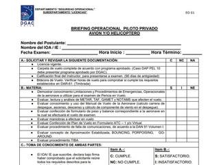 Briefing Operacional para obtención de licencias