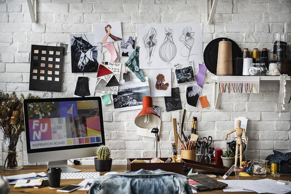 Busy work desk, creativity, drawing, designer, fashion, business,