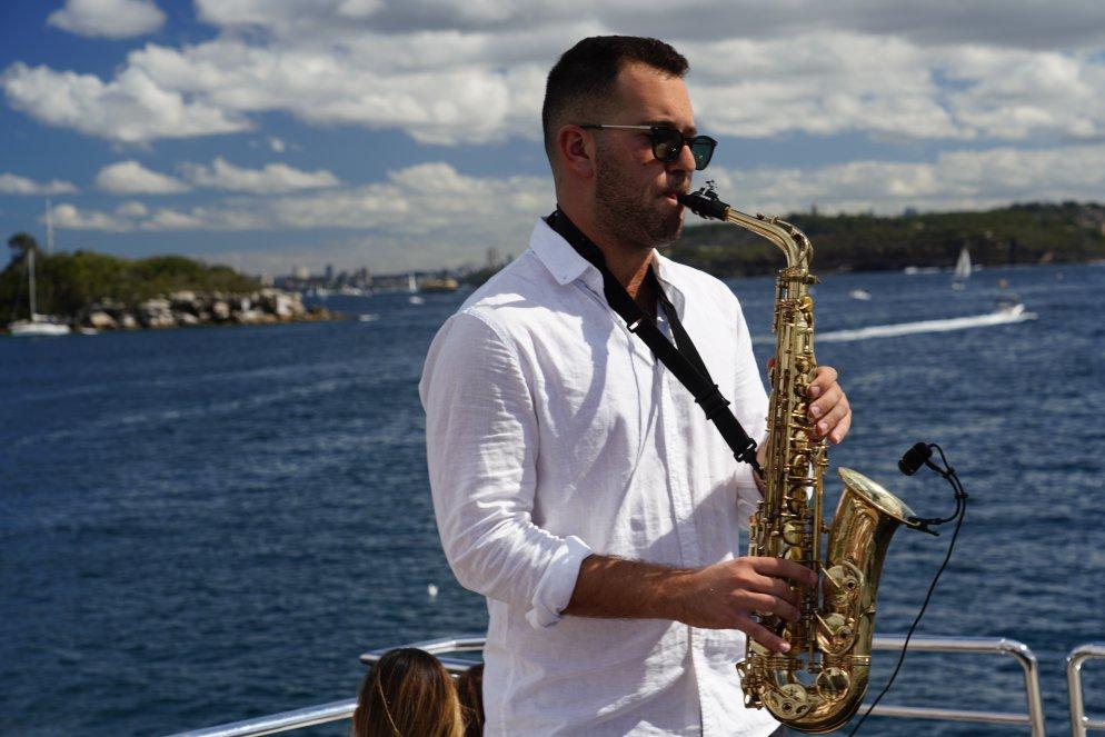 Sax player Sydney Harbour