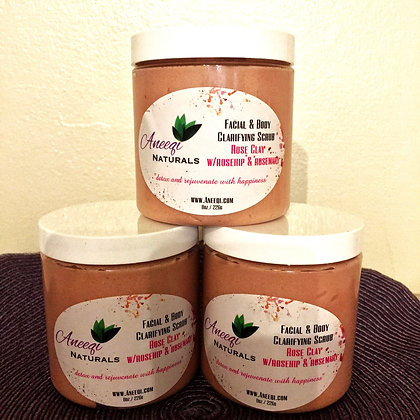 Rose Clay Facial & Body Scrub 8oz
