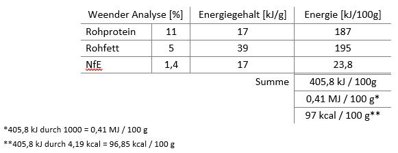 Energiegehalt berechnen