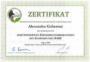 Gubernat - Zertifikat Swanie Simon Ernährungsberater mit Schwerpunkt Barf