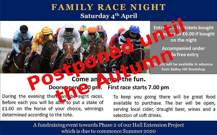 Race Night Poster - Landscape Postponed.