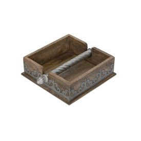 "7""Sq Wood/Metal Napkin Holder"
