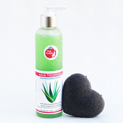 Dúo Asia Tropical & Konjac Sponge (Cleansing and make-up remover gel and Konjac)