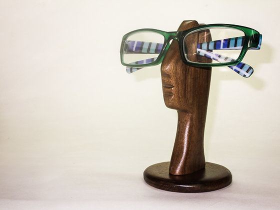 Single Helping Head Eyeglasses Holder, (Walnut)