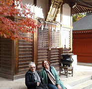 Two ladies at Yakuoin Temple on Mt. Takao, Tokyo during our Shades of Autumn small group tour of Japan.