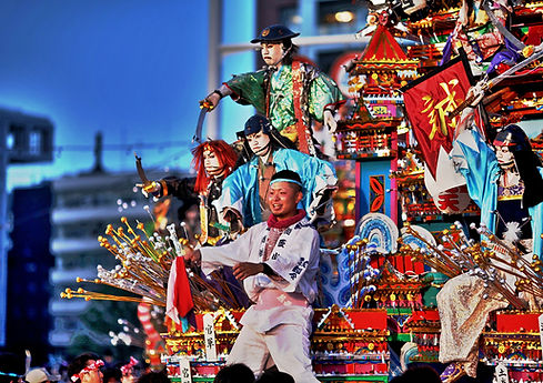 A spectacular summer festival float at the Tenjin Festival in Osaka, Japan