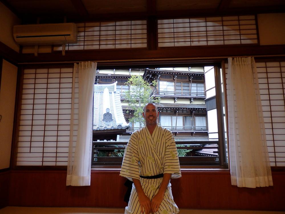 Craig wearing a traditional summer kimono (yukata)