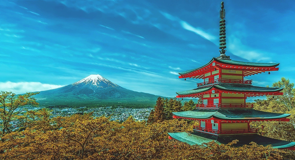 Majestic view of Mt. Fuji from the Chureito Pagoda in Japan