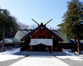 The beautiful Hokkaido Shrine in Sapporo in the middle of winter
