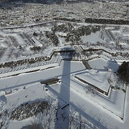 Goryokaku Fort in Hakodate in the middle of winter during our Winter Wonders small group tour of Japan.