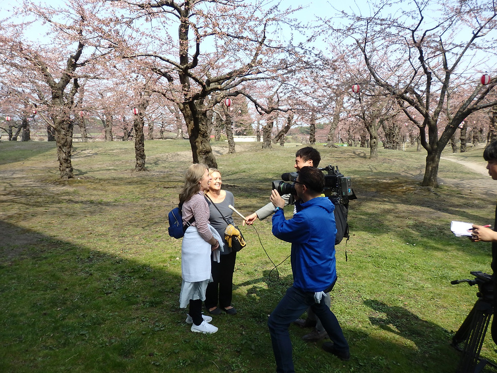 Customers being interviewed by Japanese TV in Hakodate!