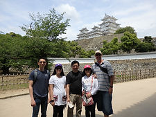 Private tour group in front of Himeji Castle in Hyogo, Japan