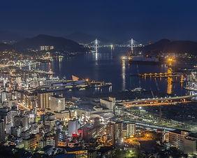 The night view of Nagasaki from the top of Mt. Inasa in Nagasaki, Japan