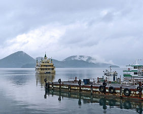 A cruise boat on Lake Toya in Hokkaido, Japan