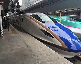 Two bullet trains at Sendai Station in Japan