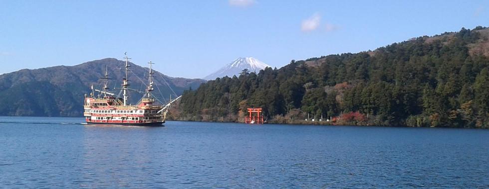 Hakone Shrine with Mt Fuji in the Background