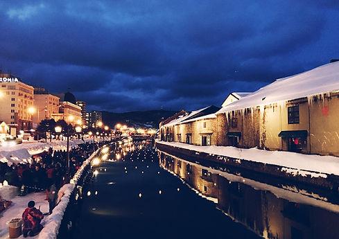 Beautiful Otaru Canal in Hokkaido in the middle of winter