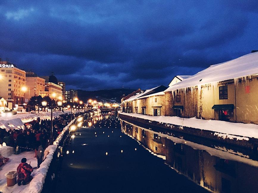 Beautiful winter scenery at Otaru Canal in Hokkaido, Japan