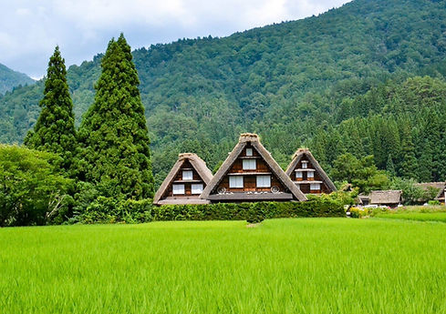 Beautiful country scenery at the UNESCO World Heritage listed village of Shirakawago in Gifu, Japan
