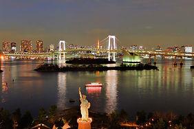 Night view of Tokyo and Rainbow Bridge from Odaiba in Tokyo