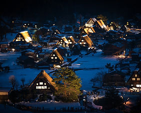 Night view of the UNESCO World Heritage listed Shirakawago Village in Gifu prefecture, Japan
