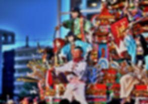 A summer festival float at the Tenjin Festival in Osaka, Japan