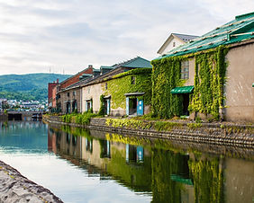 View of the Otaru Canal District in Hokkaido, Japan