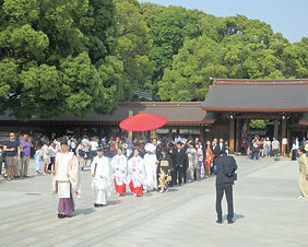 A traditional Japanese wedding at Meiji Shrine in Tokyo