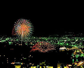 Fireworks at the Hakodate Port Festival in Hokkaido, Japan