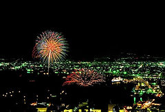 A spectacular summer fireworks display at the Hakodate Minato Festival in Hokkaido Japan