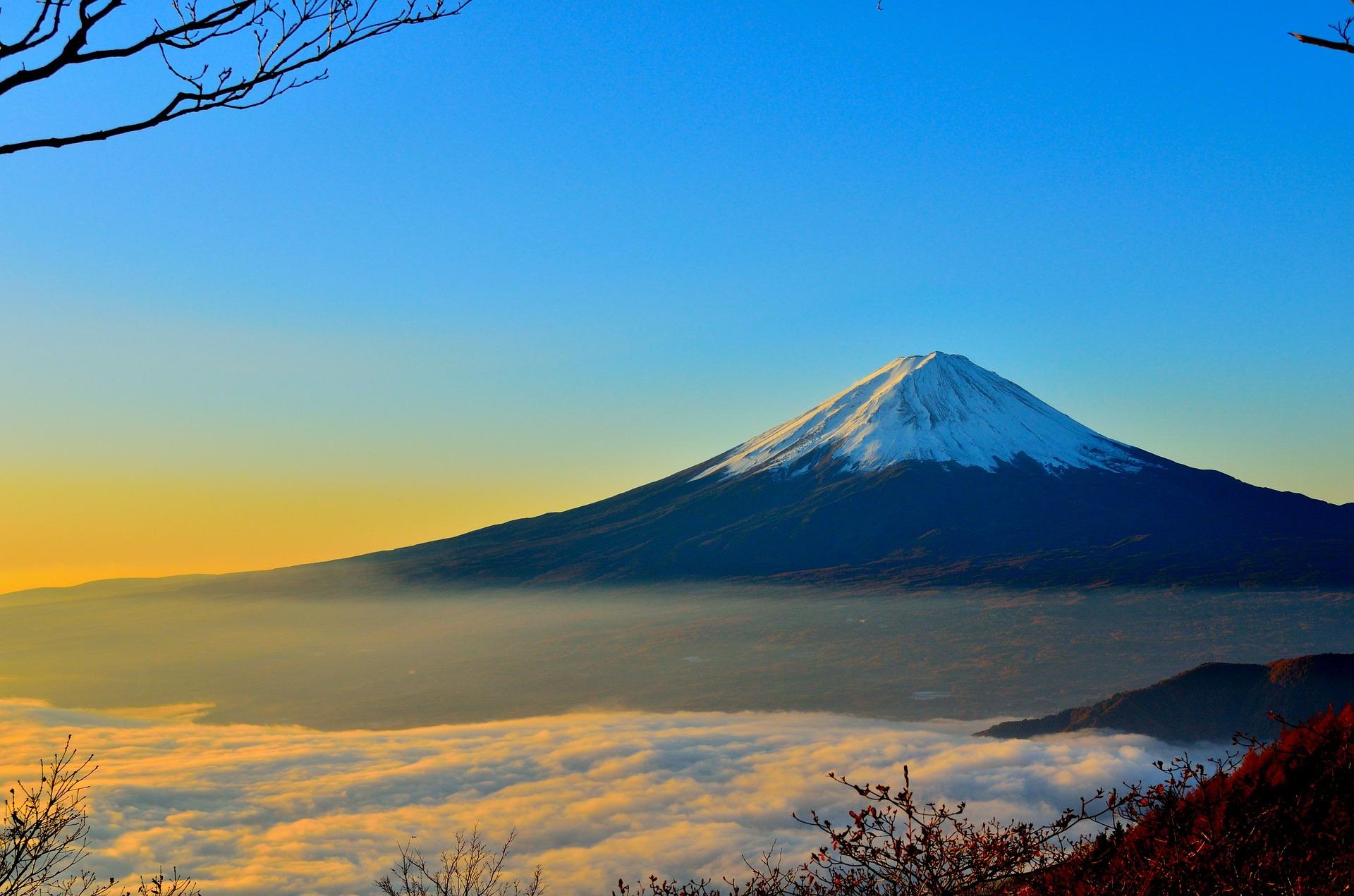 A beautiful Mt. Fuji sunrise in winter