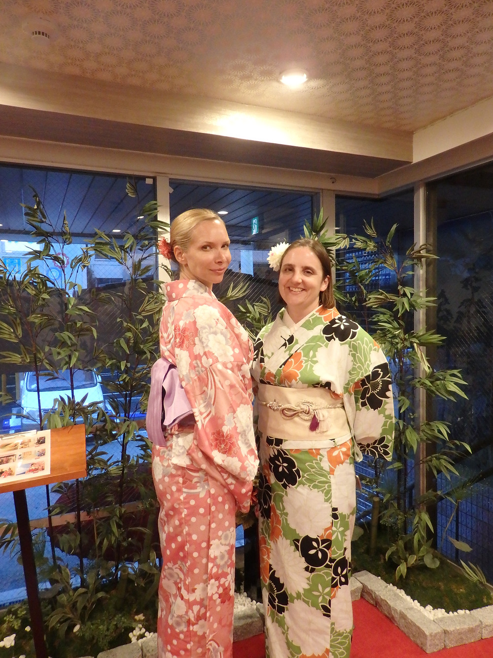 Customers dressed up in a kimono