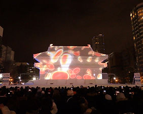 Laser mapping display at the Sapporo Snow Festival in Hokkaido, Japan