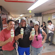 Customers enjoying ice cream in Tokyo, Japan on our Summer Festivals Tour