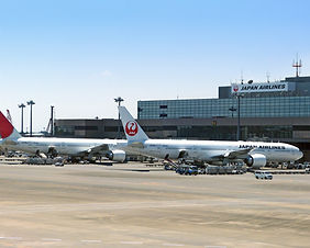 Japan Airlines planes at New Chitose Airport in Hokkaido, Japan