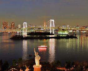 Rainbow Bridge and the Tokyo skyline from Odaiba