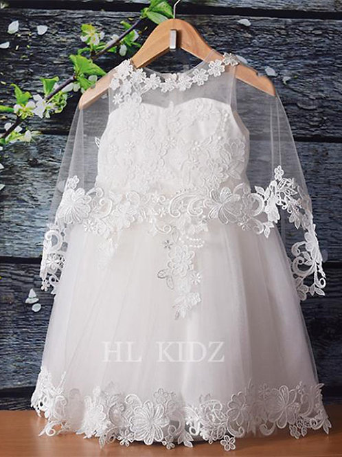 Flower girl dress 024 with Lace Gown