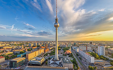 Berlin Superhot Project - Aerial wide angle view of Berlin skyline