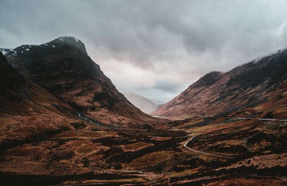 road under three sister of glencoe in scotland