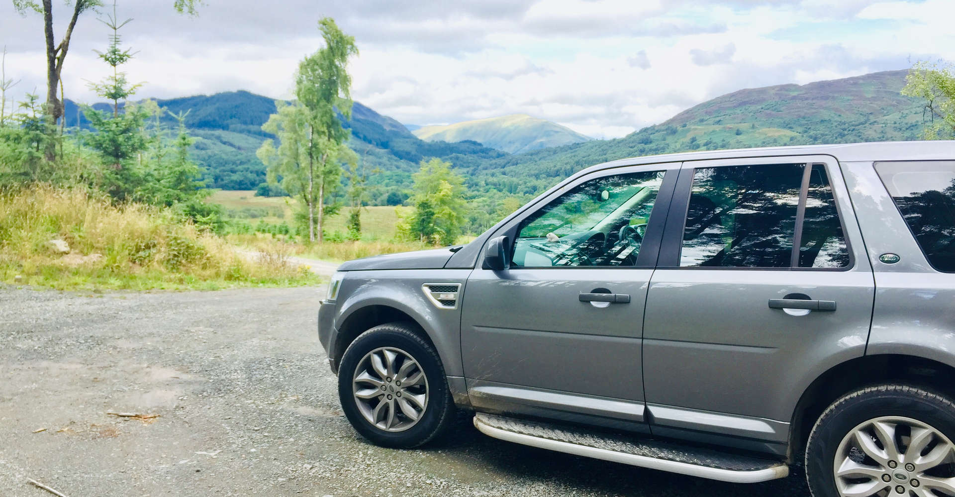 luxury private vehicle off road in scotland during tour