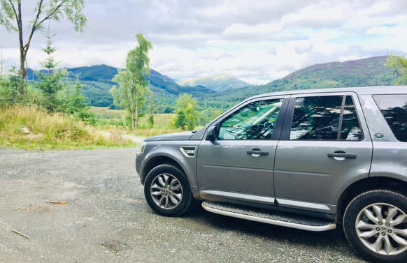 luxury private vehicle off road on a tour in scotland