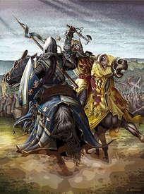 Robert the Bruce & Henry deBohun during the battle of bannockburn painting