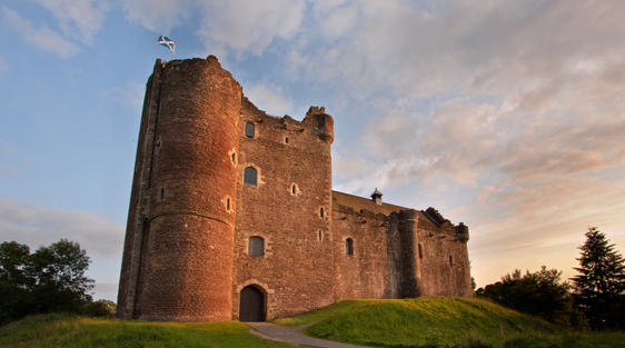 Doune Castle near Stirling, Scotland with blue sky and clouds