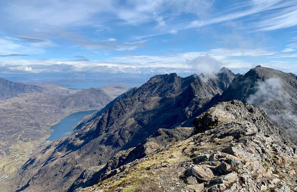 Cuillin Ridge, Isle of Skye, scotland wit mountains and blue sky