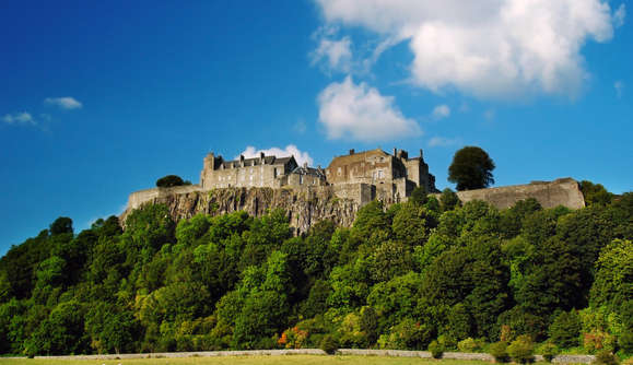 Stirling Castle, Scotland seen from below with blue sky