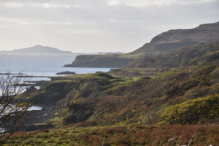 Cliffs on the Isle of Mull in scotland with sea views and sky